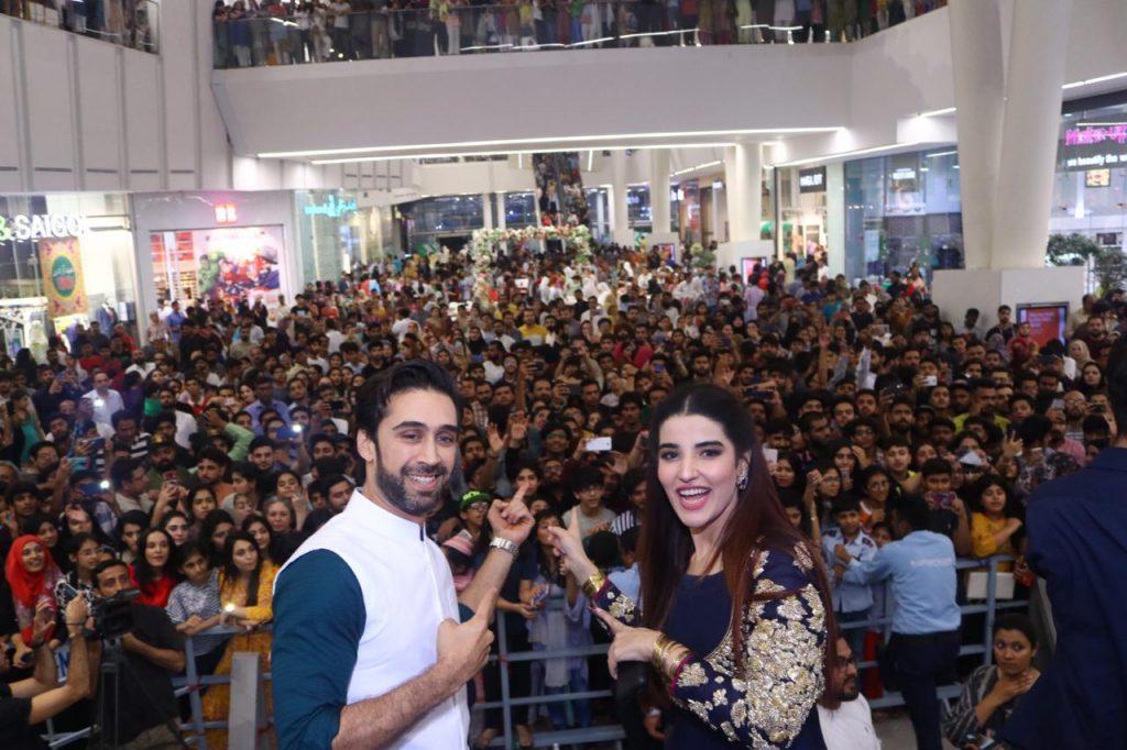 Heer Maan Ja Promotion 34 Ali Rehman and Hareem Farooq in Lahore Emporium Mall
