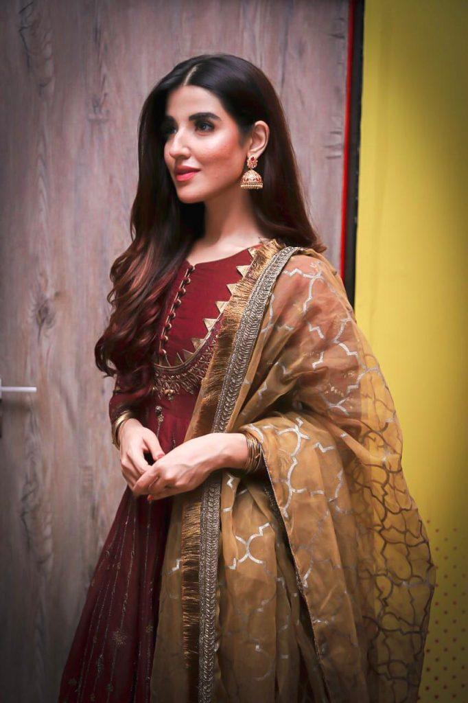 Hareem Farooq Wardrobe By Pakistani Designers | wearing Maria B 26 Hareem Farooq Maria B Red dress