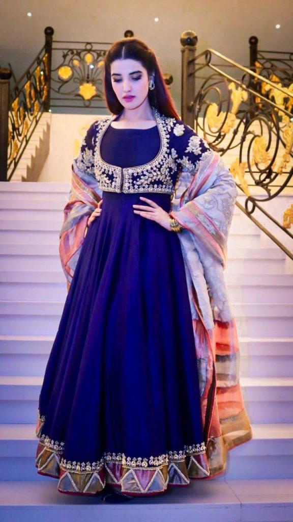 Hareem Farooq Wardrobe By Pakistani Designers | wearing Maria B 32 Hareem Farooq blue maxi Souchaj