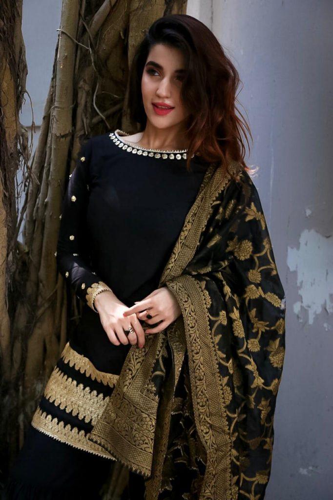 Hareem Farooq Wardrobe By Pakistani Designers | wearing Maria B 8 Hareem Farooq in Black Zainab Chottani dress