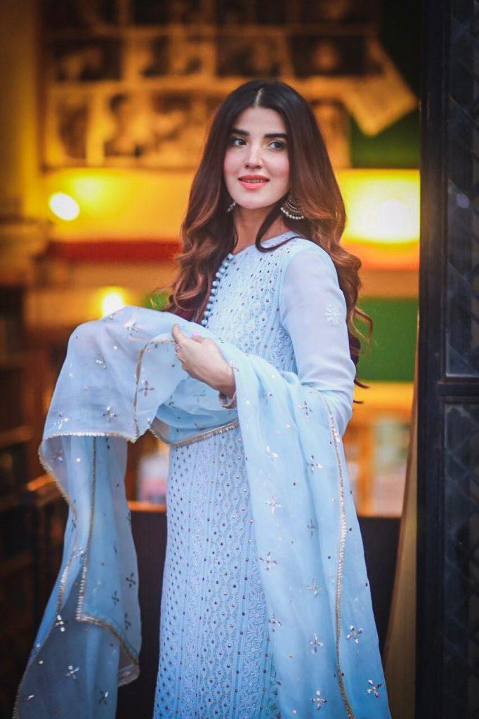 Hareem Farooq Wardrobe By Pakistani Designers | wearing Maria B 23 Hareem farooq in sky blue dress