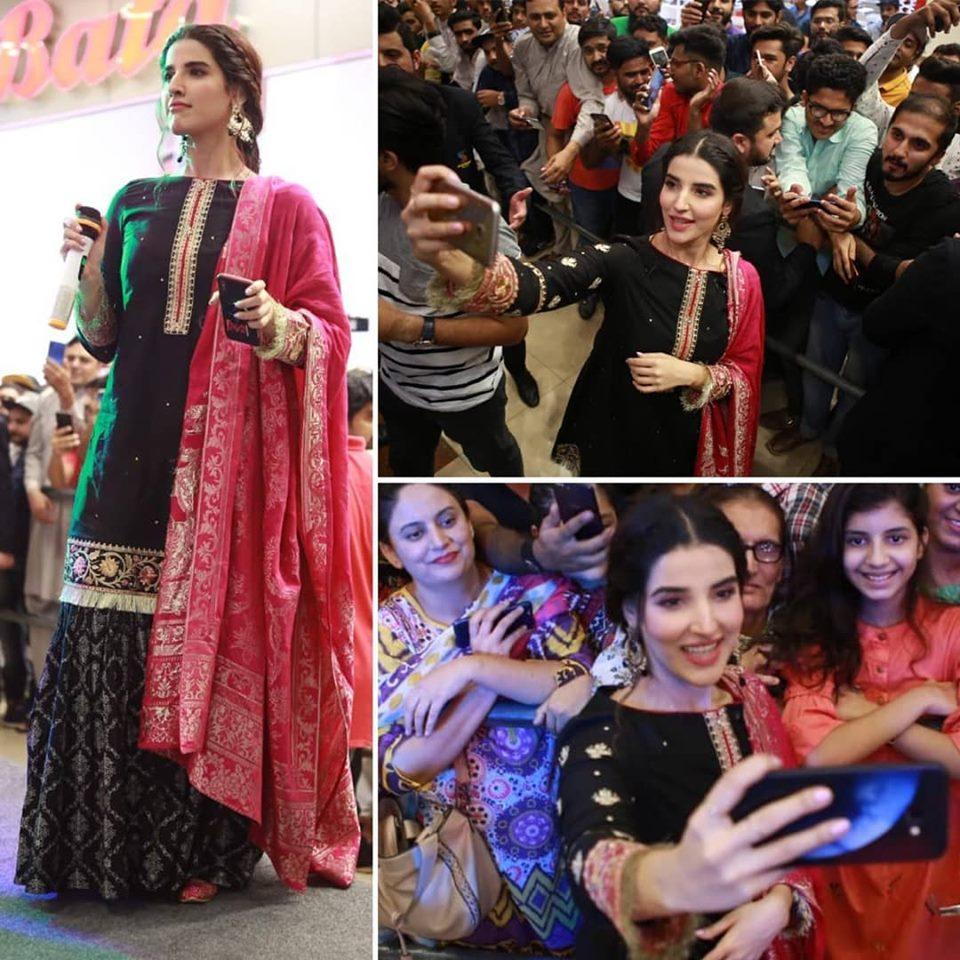 Hareem Farooq Wardrobe By Pakistani Designers | wearing Maria B 31 Hareem in Maria B black dress