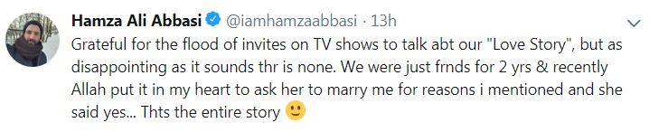 Hamza Ali Abbasi marriage with Naimal Khawar Khan