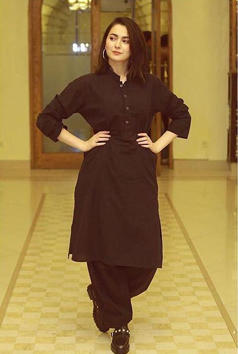 Hania Amir Black Shalwar Kameez