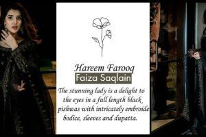 hareem in faiza saqlain black dress