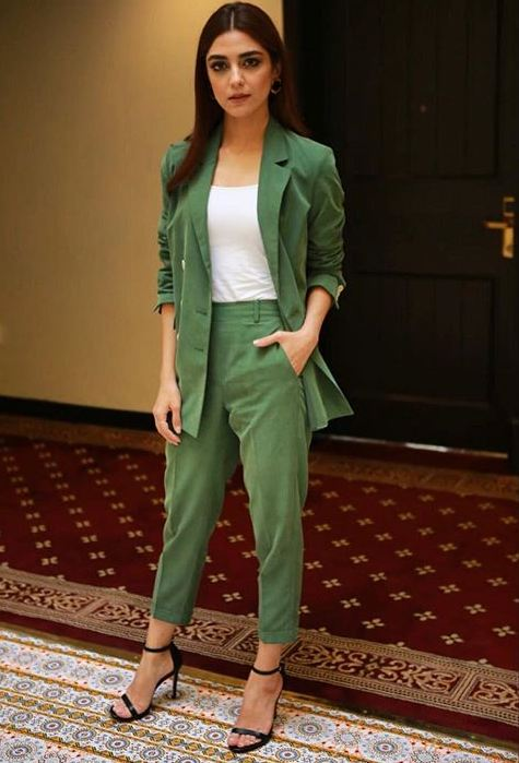 Maya Ali Green Blazer Suit by Adnan Sari