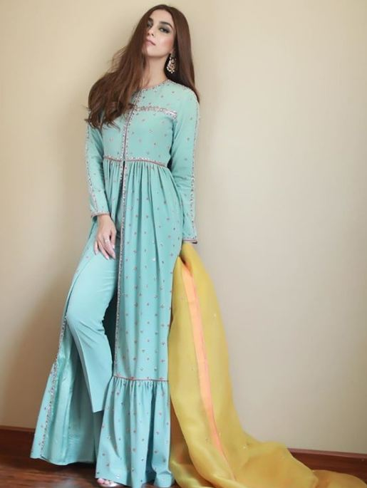 Maya Ali in blue dress