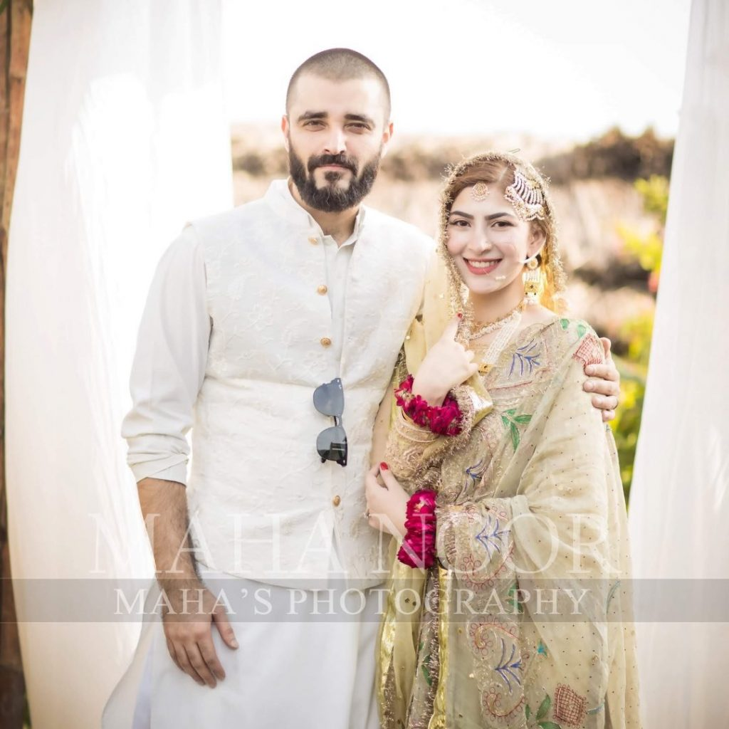 Hamza Ali Abbasi Marriage with Naimal Khawar Khan on 25th Aug Left Us All With Tears Of Joy! 1 naimal khawar khan with hamza ali abbasi on their wedding 1