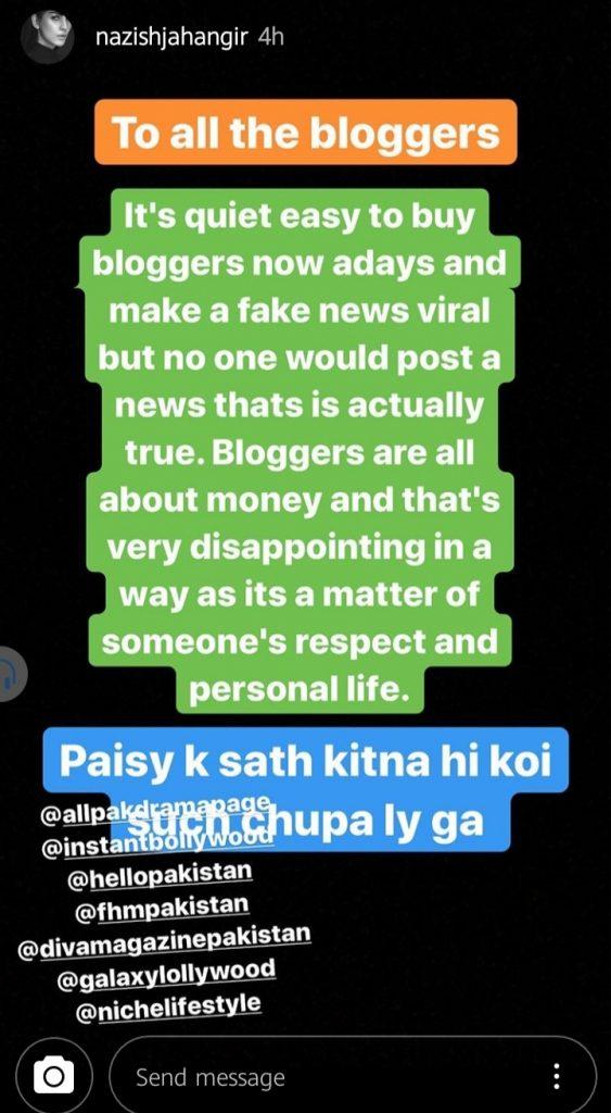 Nazish Khan Instagram Story