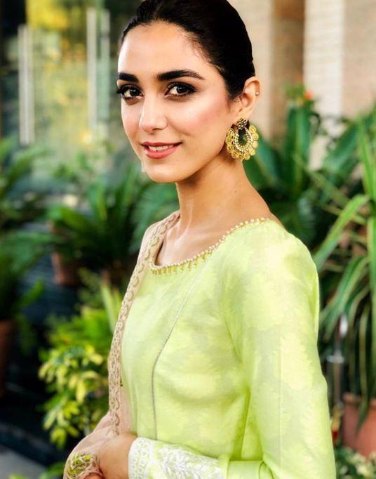 Maya Ali green frock by Adnan Sari in Islamabad