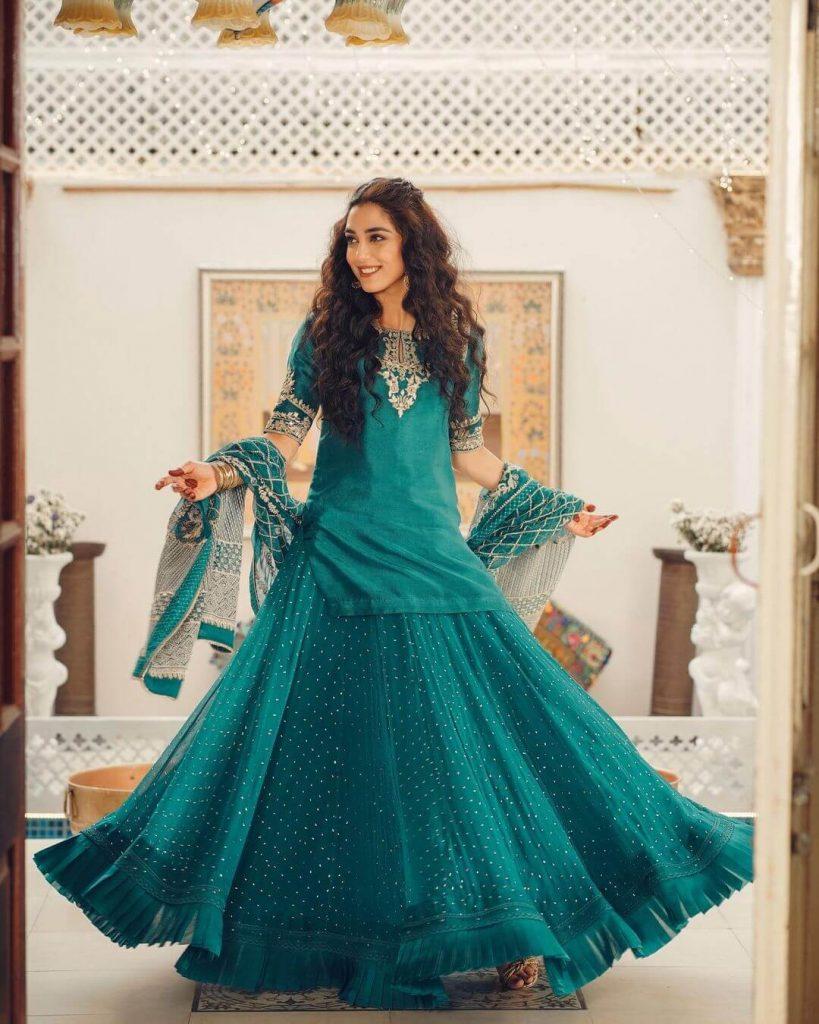 Maya Ali Green Dress on Eid