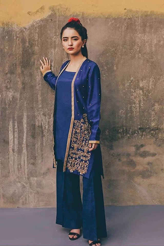 Amazing Mahum Asad Clothing Formal Collection 2020 11 Cobalt Iznik Jacket min