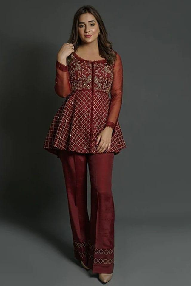 Amazing Mahum Asad Clothing Formal Collection 2020 8 Maroon Zardozi Peplum min