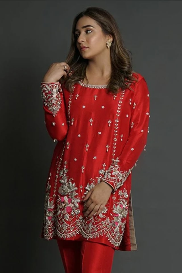 Amazing Mahum Asad Clothing Formal Collection 2020 3 Red Zardozi Scallop Border 2 min