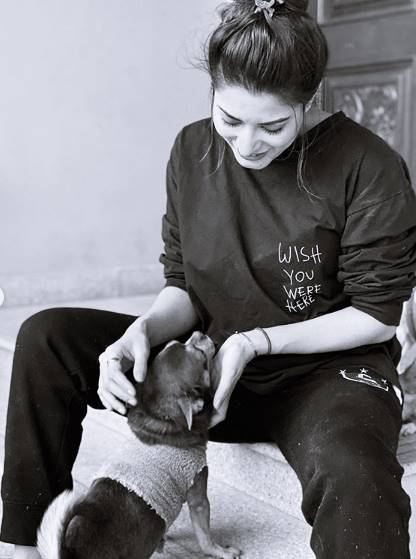 Mehwish Hayat with her dog