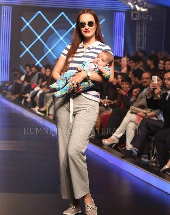 Nadia Hussain with the baby