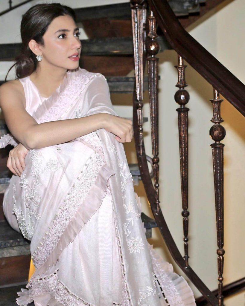 Mahira Khan White Saree