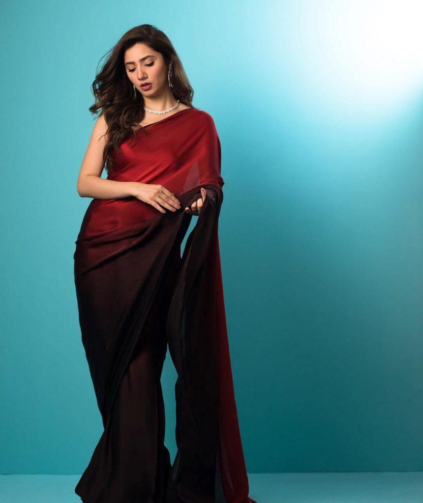 Mahira Khan Red Saree