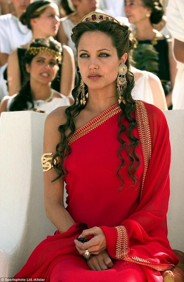 Angelina Jolie Red Saree