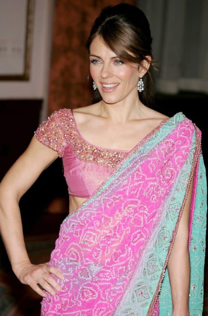 Elizabeth Hurley Wearing Saree