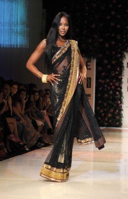 Naomi Campbell Saree Style