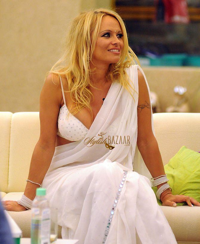 Pamela Anderson Saree Style