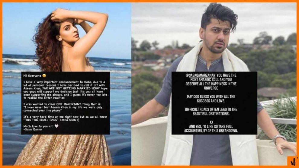 Actress Saba Qamar and azeem khan engagement broken Social media news Showbiz fashion Pakistan