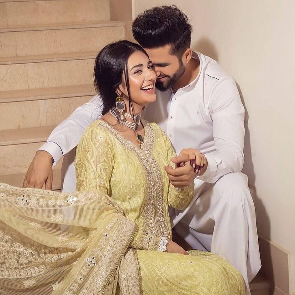 Pakistani Celebrities and their Eid Outfits 3 Falak Shabir and Sarah Khan Eid Dress 1