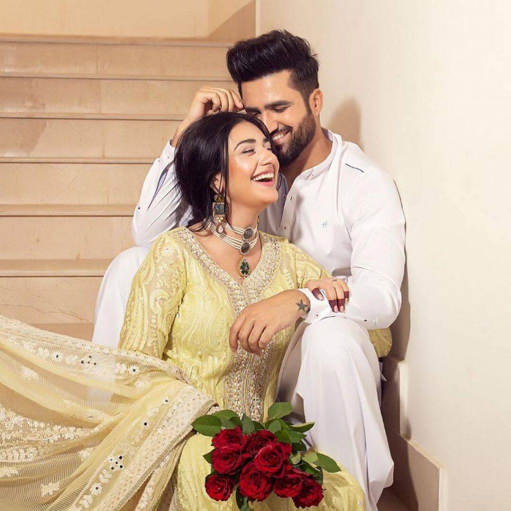 Pakistani Celebrities and their Eid Outfits 5 Falak Shabir and Sarah Khan Eid Dress 2