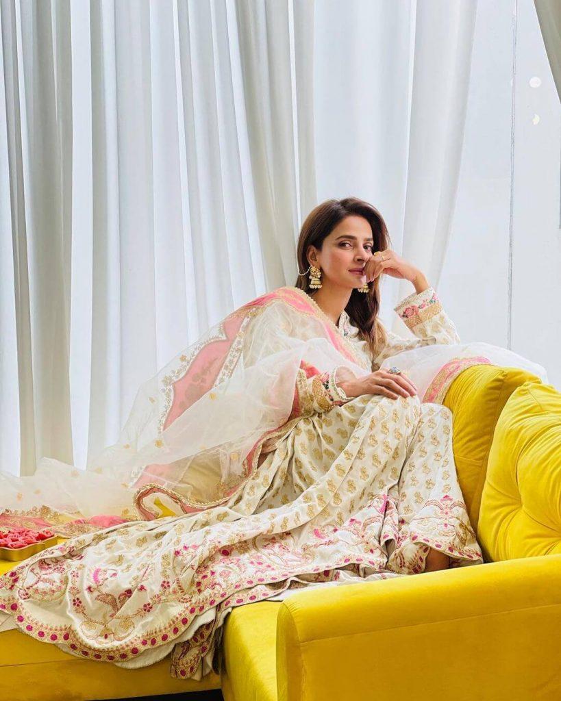 Pakistani Celebrities and their Eid Outfits 7 Saba Qamar Eid Dress 1
