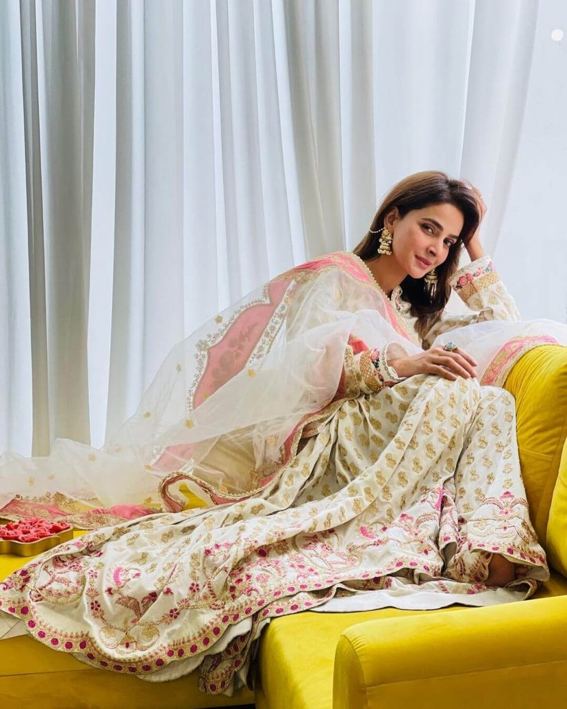Pakistani Celebrities and their Eid Outfits 6 Saba Qamar Eid Dress 2