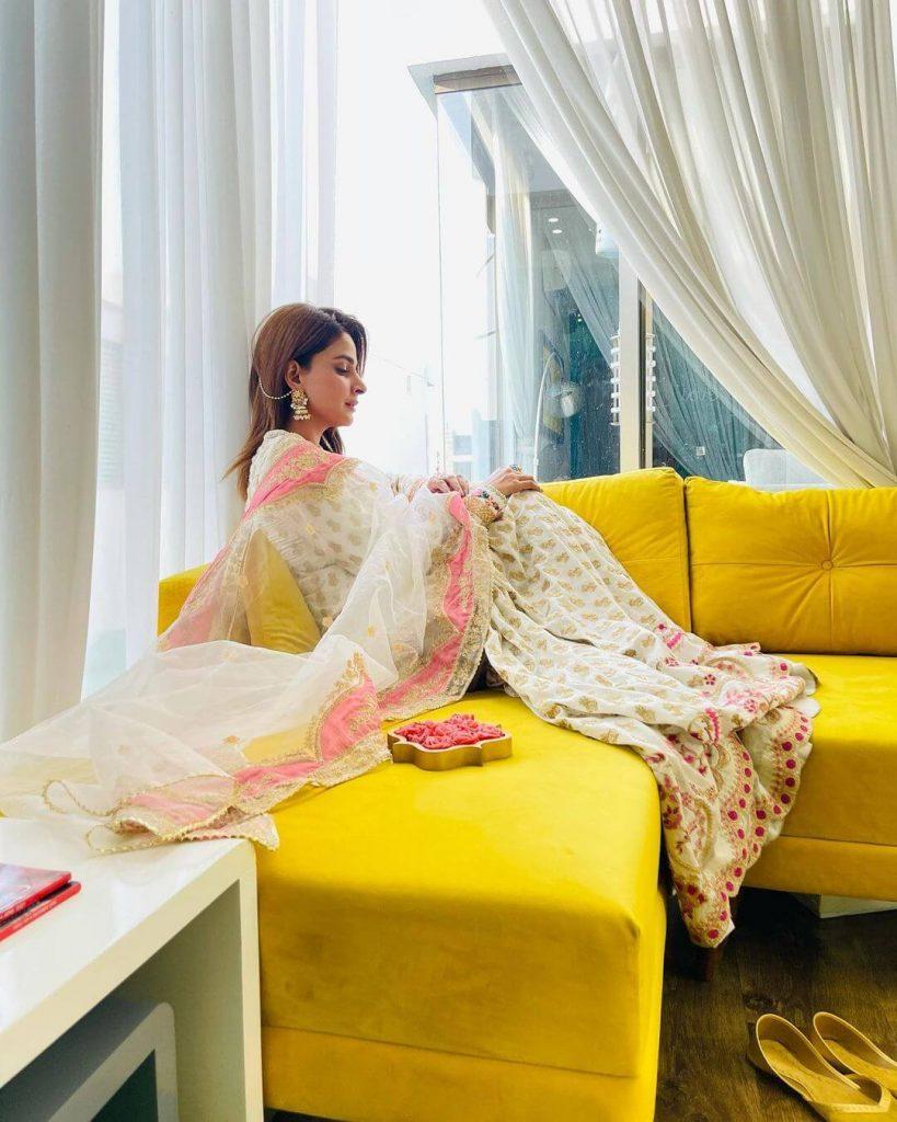 Pakistani Celebrities and their Eid Outfits 8 Saba Qamar Eid Dress 3