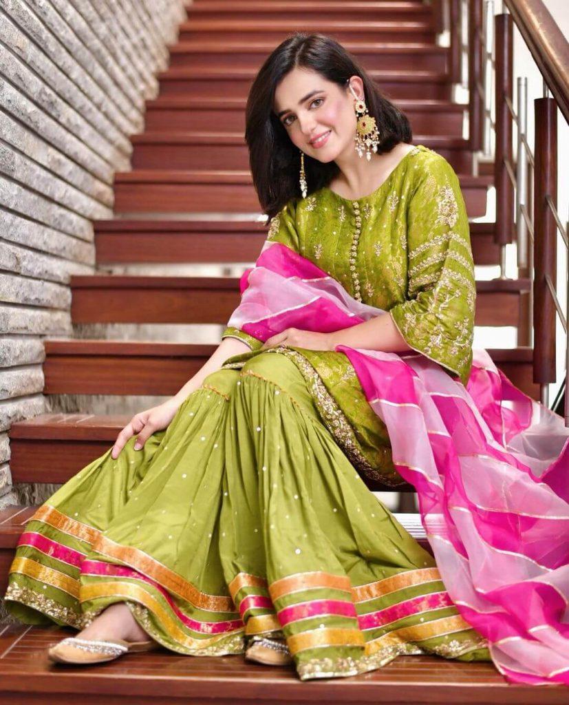 Sumbal Iqbal Green Dress