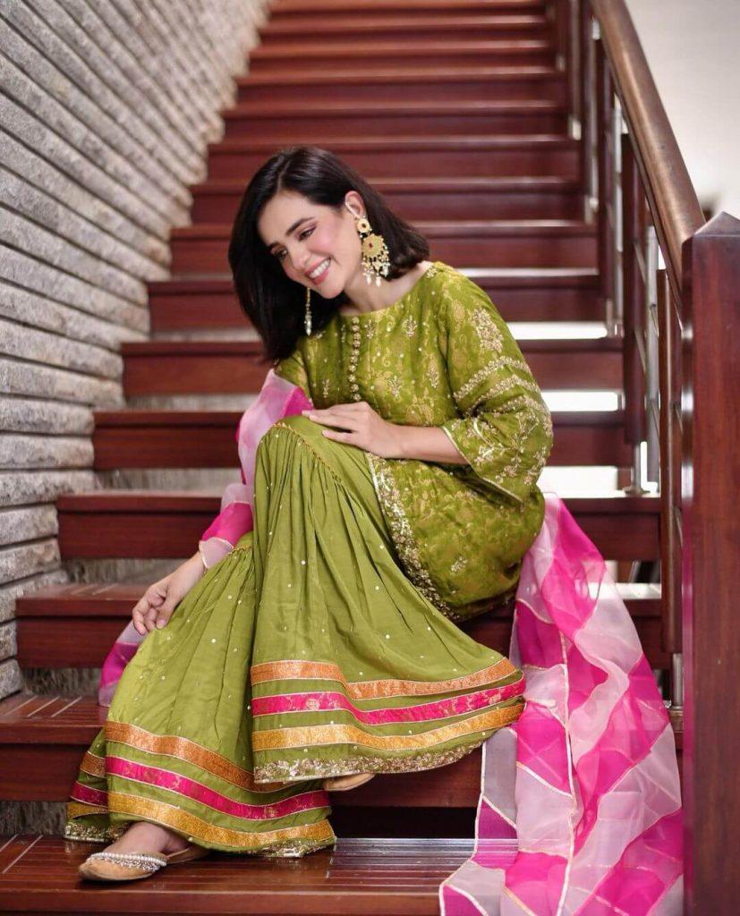 Actress Sumbal Iqbal in Green Dress